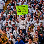 16 March 2019: A UVM Fan holds up a sign during play against the UMBC Retrievers, in the America East Championship Game at Patrick Gymnasium in Burlington, Vermont. The Catamounts defeated the Retrievers 66-49 to take the AE Championship for the 2018/2019 NCAA Men's Basketball season. Mandatory Credit: Ed Wolfstein Photo *** RAW (NEF) Image File Available ***