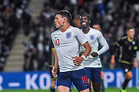 England Under 21's midfielder Phil Foden (10) celebrates opening the scoring during the UEFA Euro U21 Qualifying match between England U21 & Kosovo U21 at KCOM Craven Park, Hull, England on 9 September 2019. Photo by Stephen Buckley / PRiME Media Images.