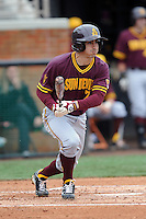 Arizona State Sun Devils second baseman James McDonald #7 swings at a pitch during a game against  the Tennessee Volunteers at Lindsey Nelson Stadium on February 23, 2013 in Knoxville, Tennessee. The Volunteers won 11-2.(Tony Farlow/Four Seam Images).