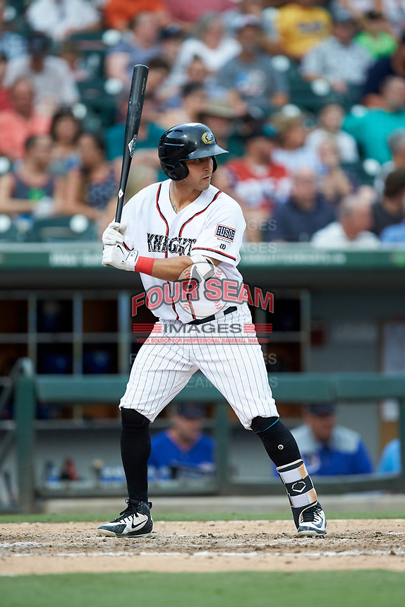 Seby Zavala (23) of the Charlotte Knights at bat against the Durham Bulls at BB&T BallPark on July 4, 2018 in Charlotte, North Carolina. The Knights defeated the Bulls 4-2.  (Brian Westerholt/Four Seam Images)