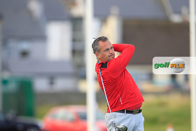 Pat Murray (Limerick) on the 1st tee during Matchplay Round 3 of the South of Ireland Amateur Open Championship at LaHinch Golf Club on Saturday 25th July 2015.<br /> Picture:  Golffile | TJ Caffrey