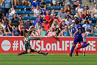 Bridgeview, IL - Saturday July 22, 2017: Aubrey Bledsoe, Christen Press during a regular season National Women's Soccer League (NWSL) match between the Chicago Red Stars and the Orlando Pride at Toyota Park. The Red Stars won 2-1.