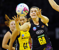 Ellen Halpenny passes during the ANZ Netball Championship match between the Central Pulse and Waikato Bay Of Plenty Magic at TSB Bank Arena, Wellington, New Zealand on Monday, 30 March 2015. Photo: Dave Lintott / lintottphoto.co.nz