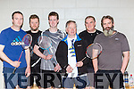 Padraig Hanrahan Moyvane, Mike Walsh and Paul Hayes Listowel, Sean Foley, Keith Newsome and Christy Deane Annauscaul who competed in the County Bandminton championships in Killarney on Sunday
