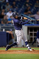 San Antonio Missions shortstop Jose Rondon (13) follows through on a swing during a game against the Tulsa Drillers on June 1, 2017 at ONEOK Field in Tulsa, Oklahoma.  Tulsa defeated San Antonio 5-4 in eleven innings.  (Mike Janes/Four Seam Images)