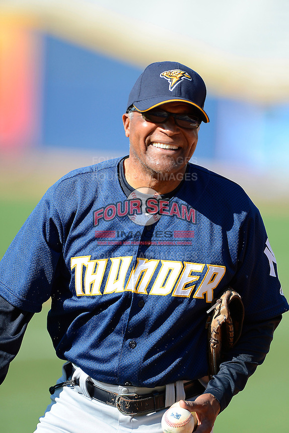 Trenton Thunder manager Tony Franklin #18 during practice before a game against the Akron Aeros on April 22, 2013 at Canal Park in Akron, Ohio.  Trenton defeated Akron 13-8.  (Mike Janes/Four Seam Images)