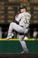 September 28, 2008: Oakland Athletics reliever Joey Devine toes the rubber during a game against the Seattle Mariners at Safeco Field in Seattle, Washington.