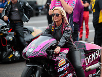 Mar 16, 2019; Gainesville, FL, USA; NHRA pro stock motorcycle rider Angie Smith during the Gatornationals at Gainesville Raceway. Mandatory Credit: Mark J. Rebilas-USA TODAY Sports