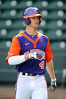 Shortstop Eli White (4) of the Clemson Tigers prior to the Reedy River Rivalry game against the South Carolina Gamecocks on Saturday, February 28, 2015, at Fluor Field at the West End in Greenville, South Carolina. South Carolina won, 4-1. (Tom Priddy/Four Seam Images)