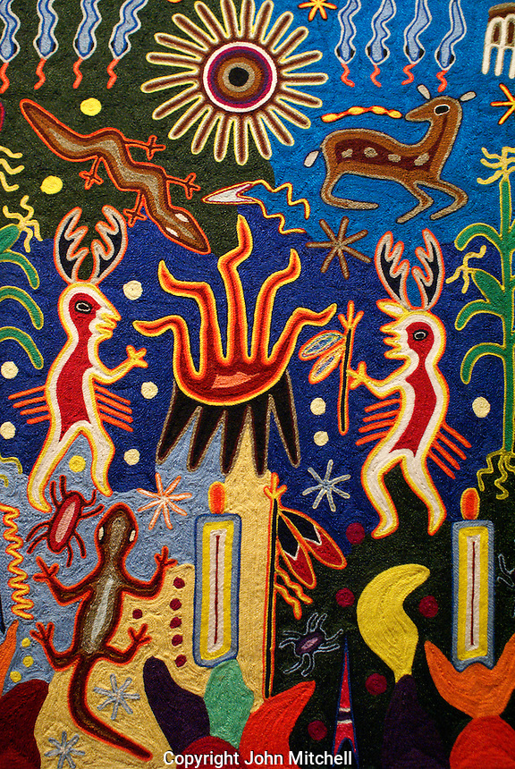 Close-up of a Huichol yarn painting, National Museum of Anthropolgy in Chapultepec Park, Mexico City