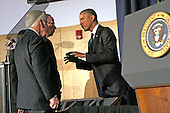 United States President Barack Obama, right, speaks with former U.S. Senator Sam Nunn (Democrat of Georgia), center, and U.S. Senator Dick Lugar (Republican of Indiana), left, after delivering remarks to the Nunn-Lugar Cooperative Threat Reduction symposium at the National Defense University for the 20th anniversary of the CTR program. In his speech, the president acknowledge the extraordinary progress made in securing nuclear material, and thanked Senators Nunn and Lugar for their works on those issues. .Credit: Aude Guerrucci / Pool via CNP