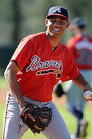 Pitcher Yean Carlos Gil (40) of the Atlanta Braves farm system in a Minor League Spring Training workout on Tuesday, March 17, 2015, at the ESPN Wide World of Sports Complex in Lake Buena Vista, Florida. (Tom Priddy/Four Seam Images)