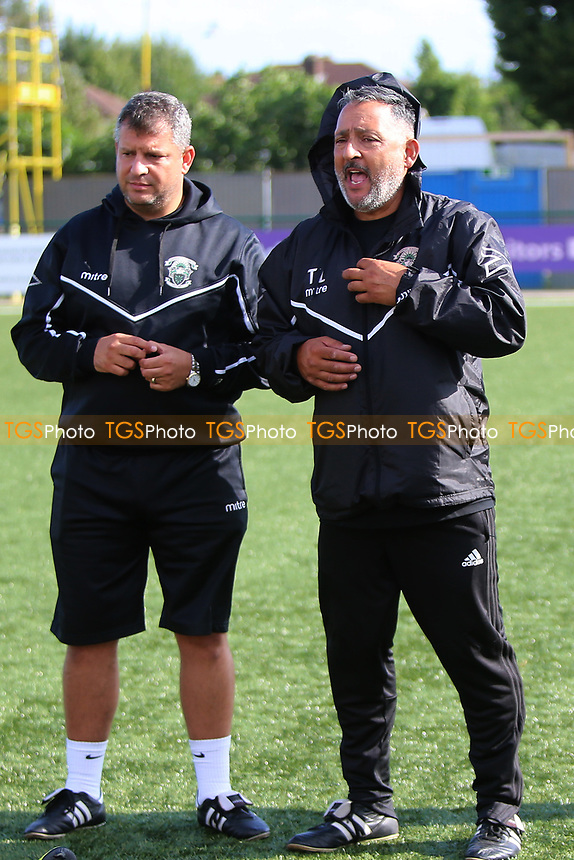 Tom Loizou manager of Haringey gives a post match talk during Haringey Borough vs Corinthian Casuals, BetVictor League Premier Division Football at Coles Park Stadium on 10th August 2019