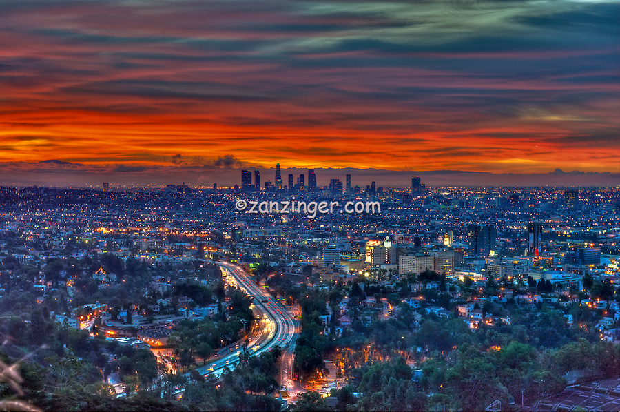 Los Angeles, CA, Skyline, Fiery, Sunrise, Sunset, Traffic Streaking on Freeway, HDR