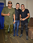 MIAMI, FL - FEBRUARY 14: Leoni Torres (C), Alexander Delgado (L) and Randy Malcom Martinez (R) of Gente de Zona  backstage during a concert at James L. Knight Center on February 14, 2017 in Miami, Florida.  ( Photo by Johnny Louis / jlnphotography.com )