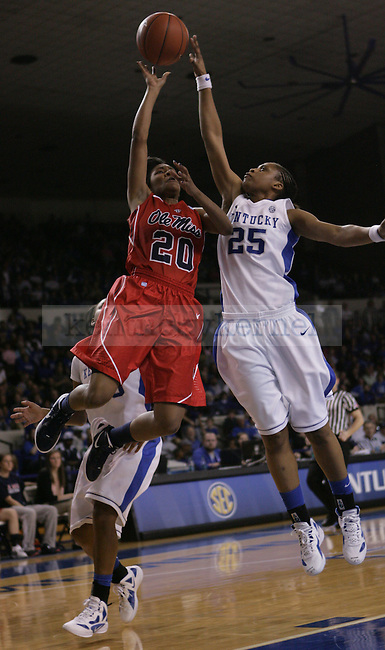 UK's freshman forward Bra'Shey Ali blocks Ole Miss' Amber Singletary during the second half of UK Hoops vs. Ole Miss at Memorial Coliseum in Lexington, Ky., on Thursday, Feb. 2, 2012. Photo by Tessa Lighty | Staff