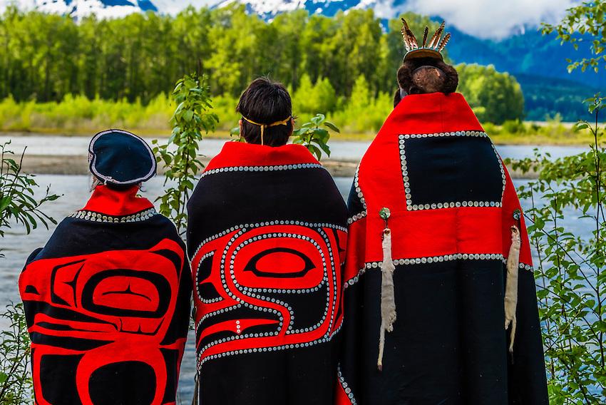 Tlingit Indians wearing theri regalia, Chilkat Indian village, Klukwan, near Haines, Alaska USA.
