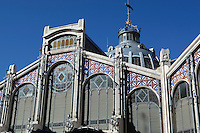 Spain, Costa Blanca, Valencia: Exterior of the Mercato Centrale, built in 1914 in Modernist style | Spanien, Costa Blanca, Valencia: Markthalle Mercato Centrale, erbaut 1914