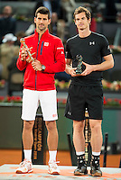 Scotch Andy Murray and Serbian Novak Djokovic during  TPA Finals Mutua Madrid Open Tennis 2016 in Madrid, May 08, 2016. (ALTERPHOTOS/BorjaB.Hojas) /NortePhoto.com