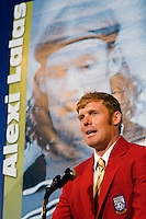 2006 Soccer Hall of Fame inductee Alexi Lalas gives his acceptance speech at his enshrinement in the National Soccer Hall of Fame at Wright Soccer Campus, Oneonta, NY, on August 28, 2006.
