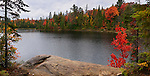 Peck lake panoramic fall nature scenery. Algonquin Provincial Park, Ontario, Canada.