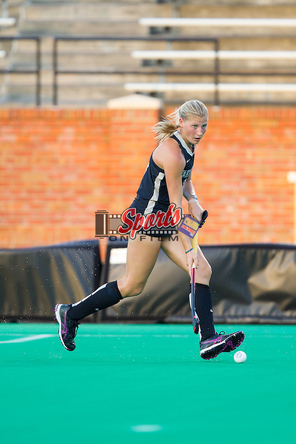Jess Newak (3) of the Wake Forest Demon Deacons pushes the ball up the field during first half action against the Northwestern Wildcats at Kentner Stadium on September 11, 2014 in Winston-Salem, North Carolina.  The Demon Deacons defeated the Wildcats 1-0.  (Brian Westerholt / Sports On Film)