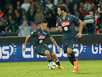 Marek Hamsik  and  Gonzalo Higuain    in action during the Italian Serie A soccer match between SSC Napoli and Verona  at San Paolo stadium in Naples, October 26, 2014