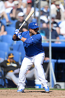 Toronto Blue Jays catcher Dioner Navarro (30) during a spring training game against the Pittsburgh Pirates on February 28, 2014 at Florida Auto Exchange Stadium in Dunedin, Florida.  Toronto defeated Pittsburgh 4-2.  (Mike Janes/Four Seam Images)