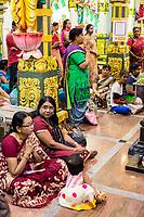 Hindu Women Attending Navarathri Celebrations, Sri Maha Mariamman Temple, George Town, Penang, Malaysia.