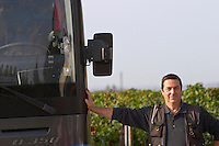Bus. And driver. Chateau la Grace Dieu les Menuts, Saint Emilion, Bordeaux, France