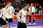 KENOSHA, WI - APRIL 28:  Springfield College's Sergio Figuroa Velez celebrates his aces at the Division III Men's Volleyball Championship held at the Tarble Athletic and Recreation Center on April 28, 2018 in Kenosha, Wisconsin. (Photo by Steve Woltmann/NCAA Photos via Getty Images)