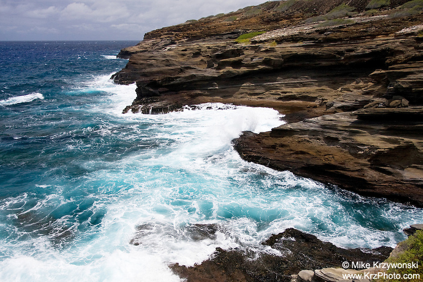 Sea cliffs along rocky shoreline of South Oahu