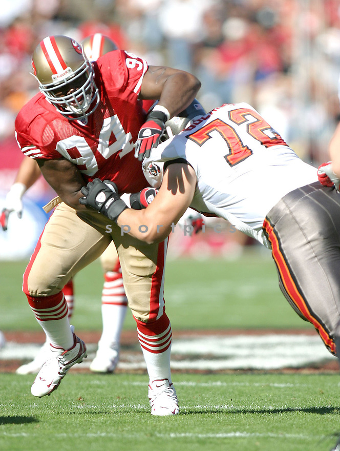Marques Douglas, of the San Francisco 49ers, in action, during their game against the Tampa Bay Buccaneers on October 30, 2005...San Francisco wins 15-10..Rob Holt / SportPics