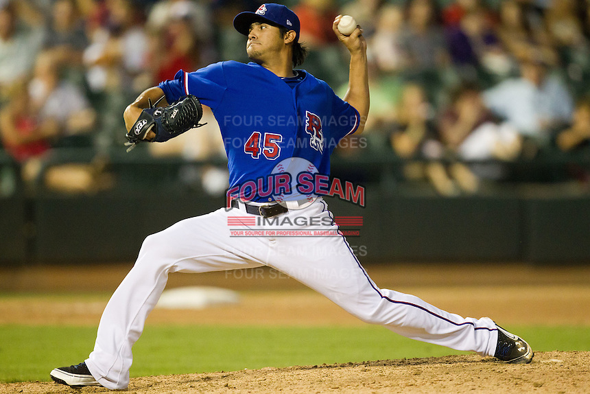 Round Rock Express pitcher Martin Perez #45 delivers a pitch during the Pacific Coast League baseball game against the Oklahoma City RedHawks on June 15, 2012 at the Dell Diamond in Round Rock, Texas. Perez pitched seven one hit innings as the Express shutout the RedHawks 2-1. (Andrew Woolley/Four Seam Images).