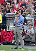 20 July 2013: New York Red Bulls head coach Mike Petke watches the action during an MLS regular season game between the New York Red Bulls and Toronto FC at BMO Field in Toronto, Ontario Canada.<br /> The game ended in a 0-0 draw.