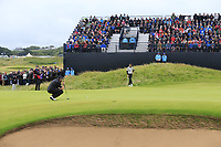 Shane Lowry (IRL) and Tommy Fleetwood (ENG) on the 17th green during Sunday's Final Round of the 148th Open Championship, Royal Portrush Golf Club, Portrush, County Antrim, Northern Ireland. 21/07/2019.<br /> Picture Eoin Clarke / Golffile.ie<br /> <br /> All photo usage must carry mandatory copyright credit (© Golffile | Eoin Clarke)