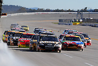Nov. 1, 2009; Talladega, AL, USA; NASCAR Sprint Cup Series driver Ryan Newman (39) leads the field during the Amp Energy 500 at the Talladega Superspeedway. Mandatory Credit: Mark J. Rebilas-