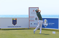Lucas Bjerregaard (DEN) on the 8th tee during Round 2 of the Rocco Forte Sicilian Open 2018 on Friday 11th May 2018.<br /> Picture:  Thos Caffrey / www.golffile.ie<br /> <br /> All photo usage must carry mandatory copyright credit (&copy; Golffile | Thos Caffrey)