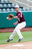 Joey Hawkins #7 of the Missouri State Bears fields a ground ball down the third baseline during a game against the Wichita State Shockers at Hammons Field on May 5, 2013 in Springfield, Missouri. (David Welker/Four Seam Images)