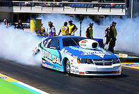 Sept. 22, 2013; Ennis, TX, USA: NHRA pro stock driver Matt Hartford during the Fall Nationals at the Texas Motorplex. Mandatory Credit: Mark J. Rebilas-