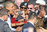 President Barack Obama greets members of the crowd at the Democratic rally at Bowie State.