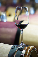 barrel cellar glass with wine chateau margaux medoc bordeaux france