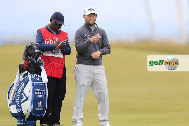 Branden GRACE (RSA) and caddy Zack during Sunday's Round 3 of the 144th Open Championship, St Andrews Old Course, St Andrews, Fife, Scotland. 19/07/2015.<br /> Picture Eoin Clarke, www.golffile.ie