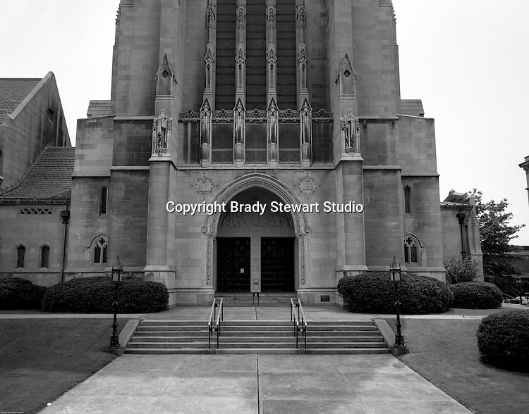 East Liberty PA: View of the main entrance of the East Liberty Presbyterian Church - 1976.<br />