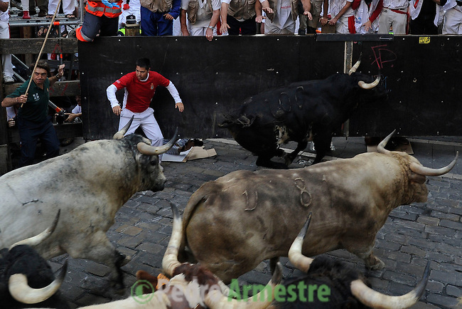 A participant runs in front of Torrestrella's bulls during the bull run of the San FermÍn Festival, on July 11, 2013, in Pamplona, northern Spain. AFP PHOTO/ PEDRO ARMESTRE