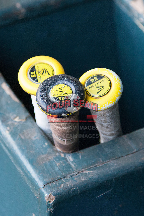 California Golden Bears bat rack before the NCAA baseball game on March 2nd, 2013 at Minute Maid Park in Houston, Texas. North Carolina defeated Cal 11-5. (Andrew Woolley/Four Seam Images).