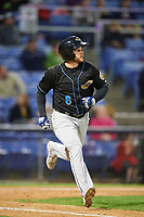 Akron RubberDucks center fielder Todd Hankins (8) runs to first base during a game against the Binghamton Rumble Ponies on May 12, 2017 at NYSEG Stadium in Binghamton, New York.  Akron defeated Binghamton 5-1.  (Mike Janes/Four Seam Images)