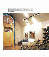 The raised ceiling made it possible to fulfill a basketball lover's wish to shoot hoops in his room.<br />