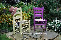 63821-10811 Yellow & Purple Chairs, clippers, hat, gloves and butterfly house in flower garden  Marion Co. IL