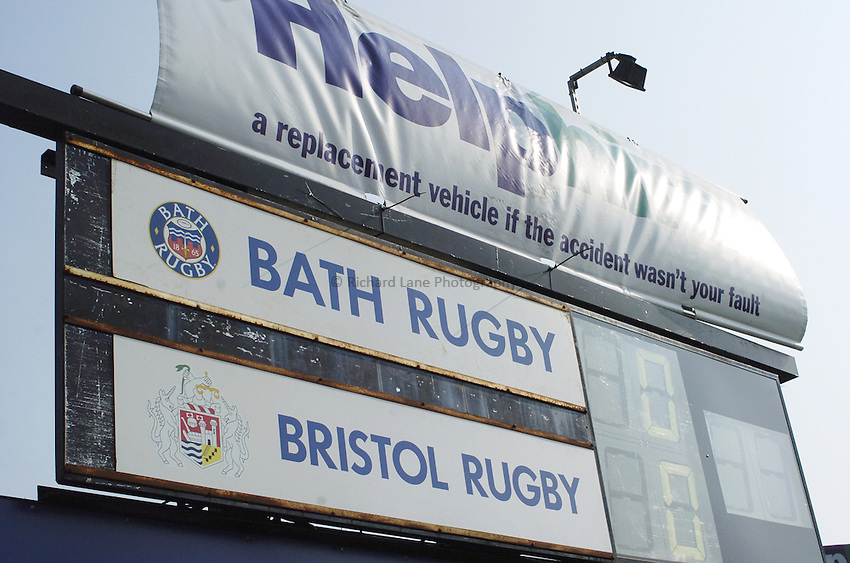 Photo: Jonathan Butler..Bath Rugby v Bristol Rugby. European Challenge Cup. 31/03/2007..Score board at the Recreation ground.